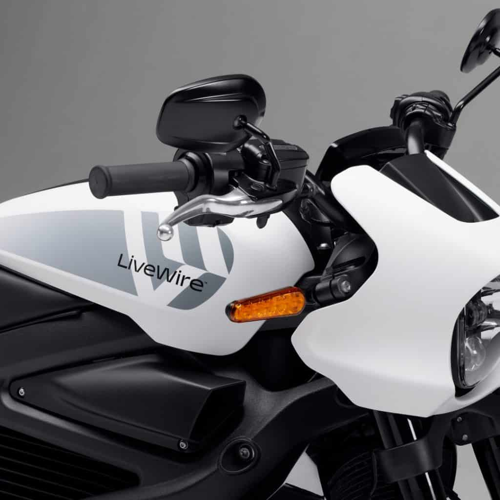 livewire electric motorcycle white.
