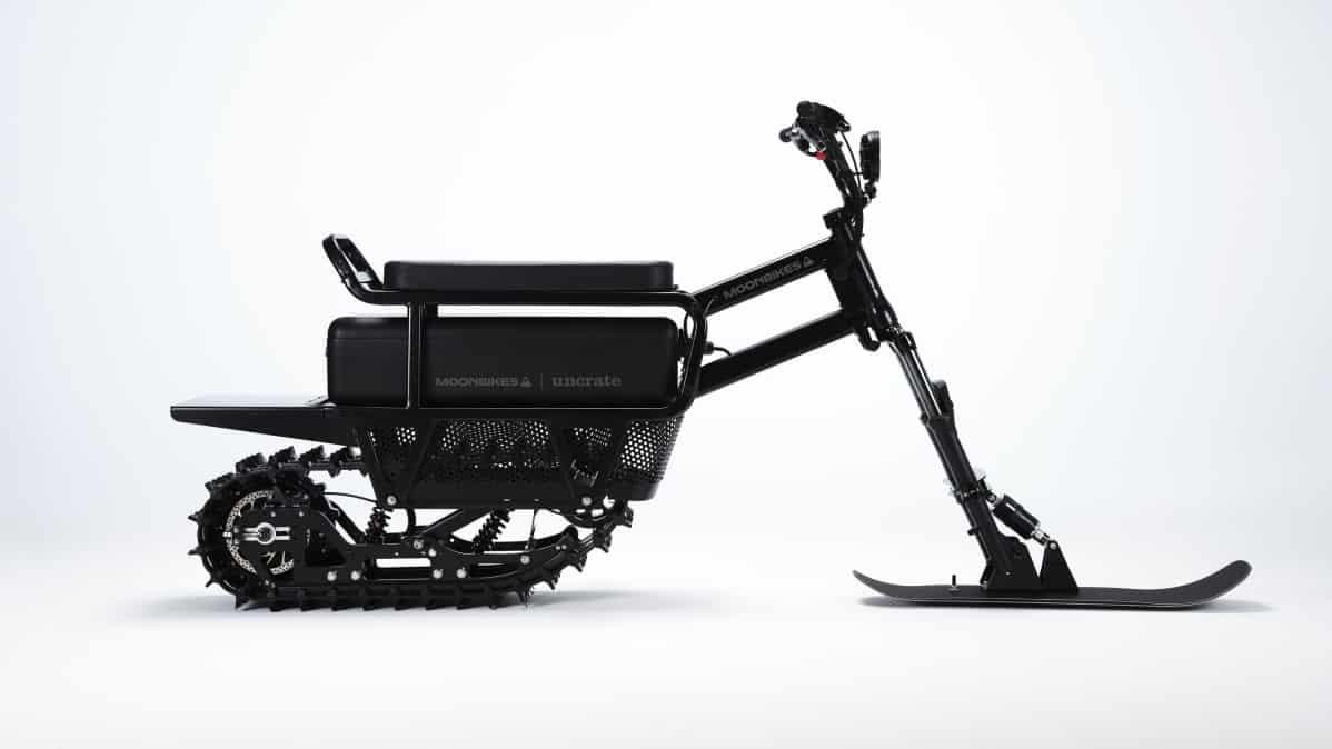 Moonbikes electric snowmobile profile.